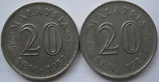 Malaysia 20 sen 1987 coin 2 pcs