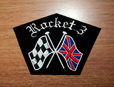CLASSIC TRIUMPH ROCKET 3 CROSSED FLAGS EMBROIDERED MOTORCYCLE PATCH