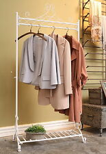 White Vintage Clothes Clothing Rail Hanging Stand with Shoe Rack  W80xD40xH163cm