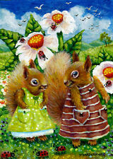 Squirrel Girls Lady Bugs Flowers Landscape Whimsical ACEO Original Art Painting