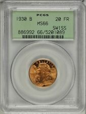 SWITZERLAND REPUBLIC  1930 20 FRANCS GOLD COIN, UNCIRCULATED CERTIFIED PCGS MS66