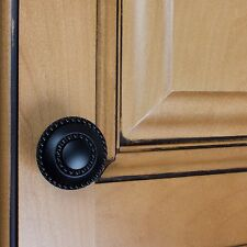 "5739-MB - 1-3/8"" Diameter Round Double-Ring Beaded Cabinet Knob - Matte Black"