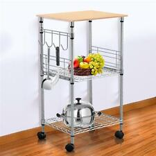 Chrome 3-Tier Wire Rolling Kitchen Cart Utility Food Service Microwave Stand US