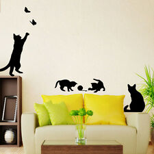 Black Cat Play Living Room Decor Removable Decal Vinyl Mural PVC Wall Sticker FT
