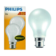 PHILIPS 100W 240V BAYONET CAP BC B22 GLS DIMMABLE OPAL LIGHT BULB TWIN PACK
