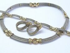 18Kt & SS Philippe Charriol Wire Necklace/Bracelet/Earrings Jewelry Set