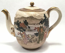 c. 19th c. SATSUMA Meiji Hand Painted Porcelain Teapot w/ Gilt Detail - SHIMAZU