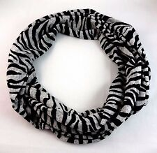 Zebra striped infinity scarf black gray stripes