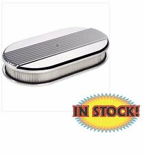 Billet Specialties Large Oval Ribbed Polished Air Cleaner - Aluminum 15640