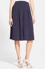 Rebecca Taylor Navy Pleated Culottes Gaucho Pants Shorts Wide Leg Midi  S 4