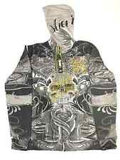 NEW MENS ED HARDY BY CHRISTIAN AUDIGIER BLACK ZIP-UP HOODIE SIZE LARGE (L)