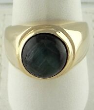 MENS 14K GOLD 11mm ROUND CABOCHON CATS EYE TOURMALINE HEAVY RING 24.7g