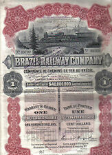 Bond 1910 Brazil Railway Company $100 Uncancelled 1 share Deco coupons Waterlow