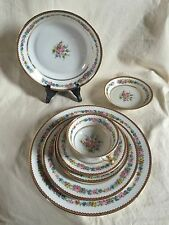Raynaud Limoges table set 7 pieces. Late 1920's.Rose and wild flowers bouquet.