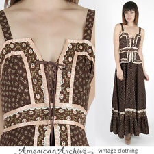 Vintage 70s Gunne Sax Dress Brown Calico Floral Boho Wedding Hippie Corset Maxi