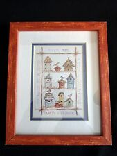 Birdhouse Print Wood Frame 11x9 FAMILY AND FRIENDS MAKE IT A HOME Birds