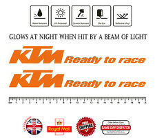 2x KTM READY TO RACE Sticker Decals ORANGE Reflective Vinyl 200mm F314