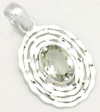 Natural Green Amethyst With Chain Pendant Solid 925 Silver Jewelry IP27001