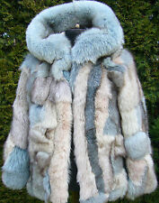 BOHO  Real Fox Fur a`la KATE Style Jacket COAT Patchwork Color MULTI Size S/M