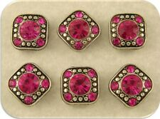 "Beads Crystal 8mm Fuchsia Swarovski Elements ""GALA"" ~2 Hole Sliders ~QTY 6"