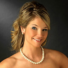 """9b Bridal Prom Party 16-19"""" 8mm Faux Cream Pearl Necklace Earring Set"""