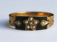 Antique-Victorian-9ct Gold/Pearl/Black Enamel/Hair Mourning Ring-Chester-c1890