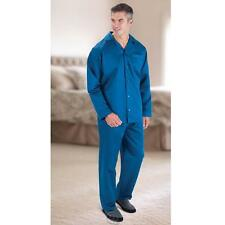Blue Silky Soft Men's Cotton Pajamas Small Hammacher 800 Thread Count TC NEW
