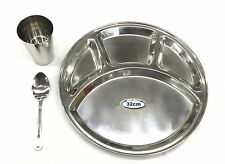 Stainless Steel 4 Compartment 3pc Thali Set Dinner Set Plate Spoon Glass 32cm