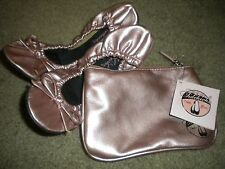 Sidekicks metallic pink faux leather slippers with matching carry case NWT S 5/6