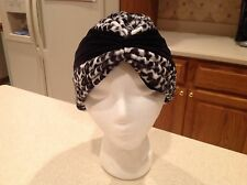 Ladies Hat Headwear Headwrap Turban Animal Print Black and White Very Clean