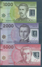 Chile 1000, 2000, 5000 Pesos Set, 2010, P 161-163, UNC