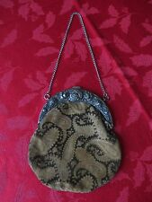 Vintage Antique Velvet Paisley Evening Hand Bag Purse