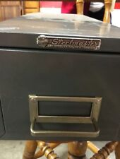 Vintage STEELMASTER Metal Card Catalog Box Single File Index Card Holder Cabinet