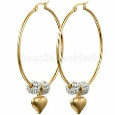 50MM Large Hoop Womens Gold Tone Stainless Steel Love Heart Dangle Earrings Gift