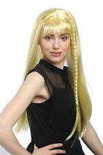 Wig Ladies Carnival long smooth Pony Blonde Golden braided Pigtails Hippie