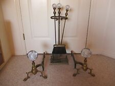 Antique MURANO GLASS Andiron FIREPLACE SET Paperweight Vtg Fire Place ST. CLAIRE