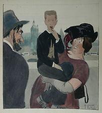 Dessin Aquarelle Illustration ARMAND VALLÉE 1900 Couverture LE RIRE Chaussures