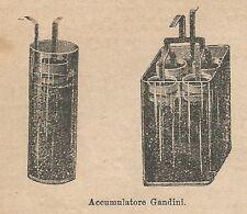 A1007 Accumulatore Gandini - Stampa Antica del 1911 - Xilografia
