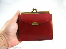 Vtg 50s Mod Rockabilly Cherry Red WALES HOTEL LEATHER WALLET NOS
