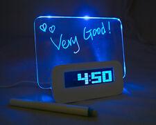 LED Light Fluorescent Message Board Digital USB HUB Wall Alarm Clock Calendar