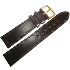 18mm Fluco German Brown Shell Cordovan Leather GOLD Buckle Flat Watch Band Strap