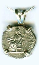AD196 Ancient Roman Silver Coin Emperor Severus Goddess Indulgentia Throne Robed