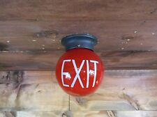 RED Vintage Round EXIT Sign Lamp Light Theater Art Deco glass globe office #X53
