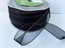 "5/8"" SHEER/GOLD METALLIC EDGE Ribbon - May Arts - Black - GE10 - 100 yds"