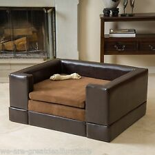 Large Chocolate Brown PU Leather Microfiber Fabric Pet Sofa Bed