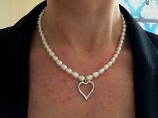 DESIGNER AA FRESHWATER PEARL NECKLACE WITH STERLING SILVER HEART VALENTINE GIFT
