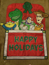 TOY STORY HAPPY HOLIDAYS WOODY BUZZ GARDEN OUTSIDE CHRISTMAS BANNER FLAG 36 x 41