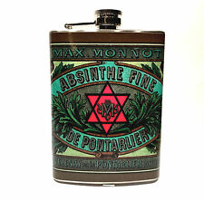 Absinthe Fine Vintage Liquor Label Red Star 8oz Stainless Steel Flask Max Monnot