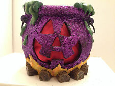 Cauldron Jack O Lantern Face Purple Glitter Halloween Candle Holder Log Fire 6""