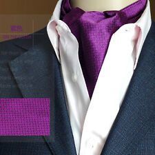 Factory Vintage Men's ASCOT CRAVAT TIE Purple Red Houndstooth Self Tied Stain